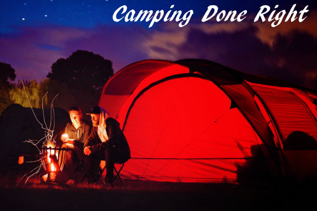Tent Camping With a Campfire
