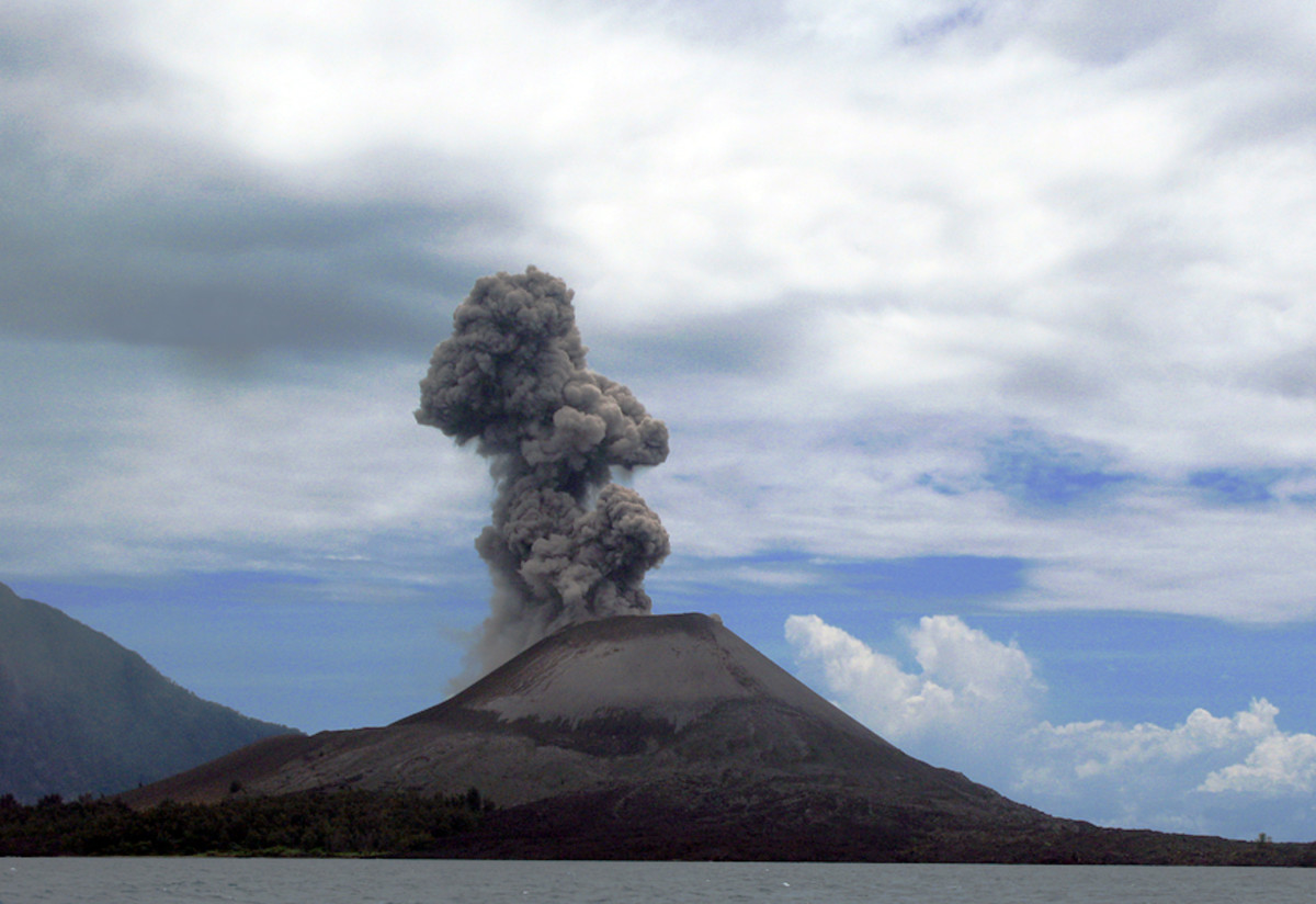 Anak Krakatoa is an island volcano located in the Sunda Strait between the Indonesian islands of Java and Sumatra