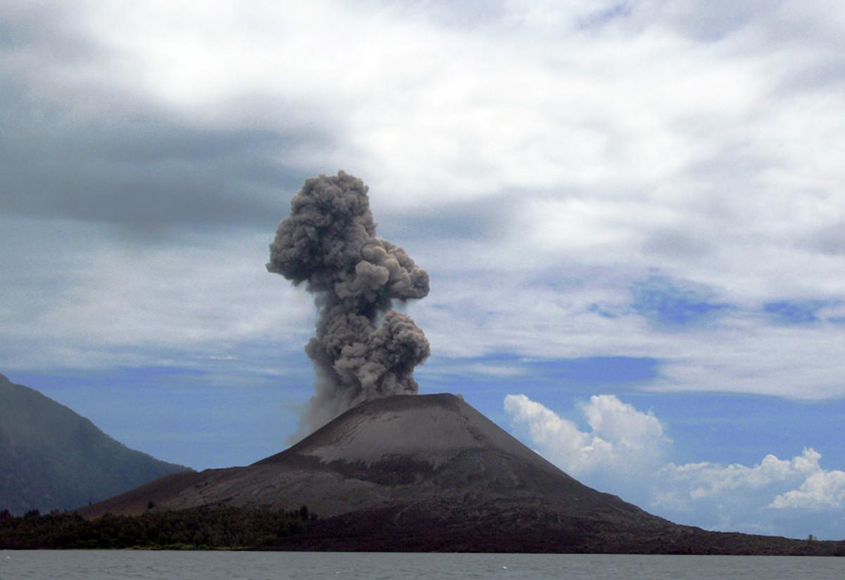 Anak Krakatoa is an island volcano located in the Sunda Strait between the Indonesian islands of Java and Sumatra