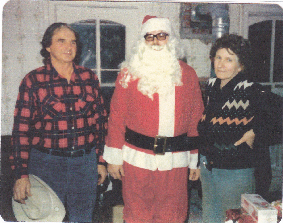 Playing Santa Claus in the presence of mom and dad in 1979.