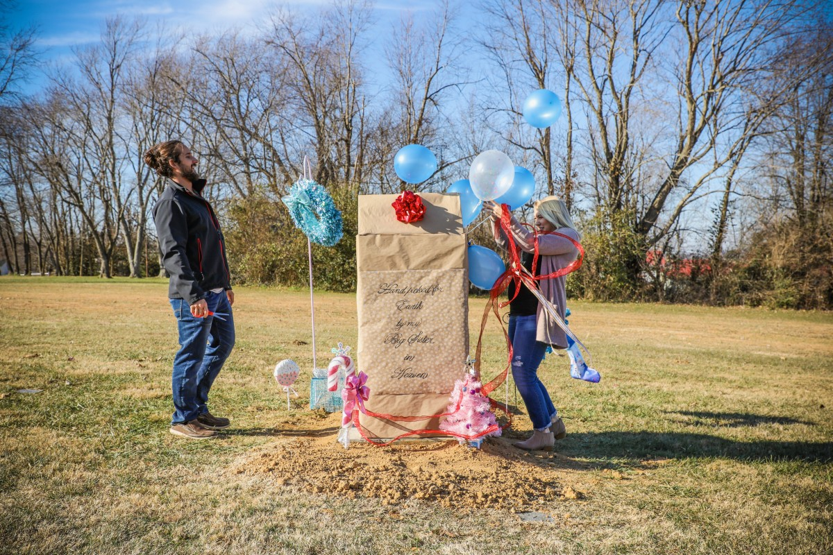 We had our gender reveal at Mila's grave site. Her stone hadn't been set yet, just the concrete slab had been poured. If she was still here she would've been a big part of the day, and we wanted that to be true regardless.
