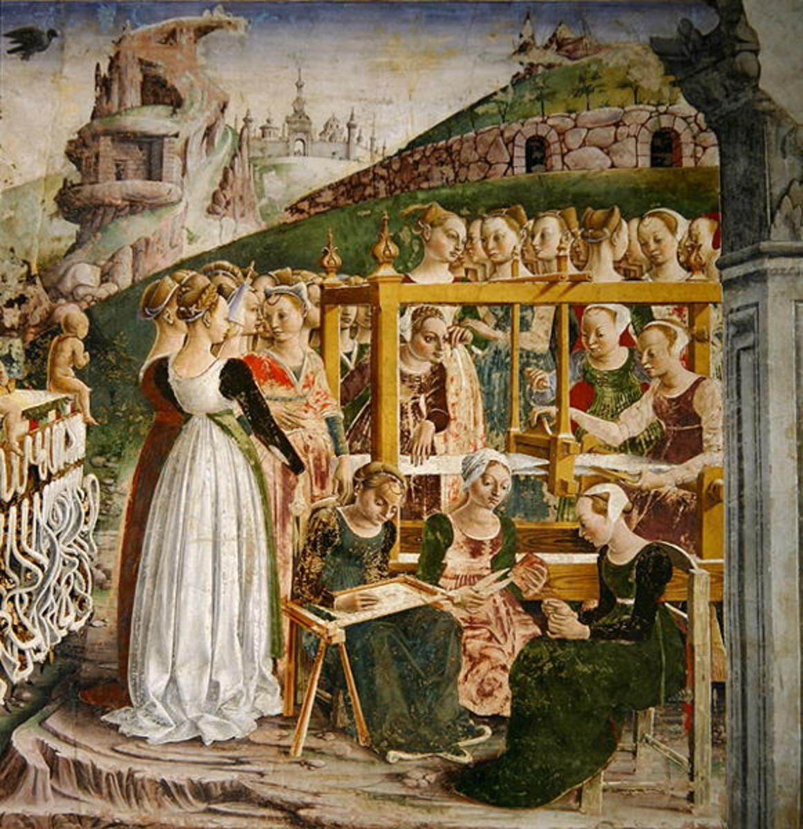 A painting from Francesco del Cossa. See how the crowd gathers around the loom of Arachne?