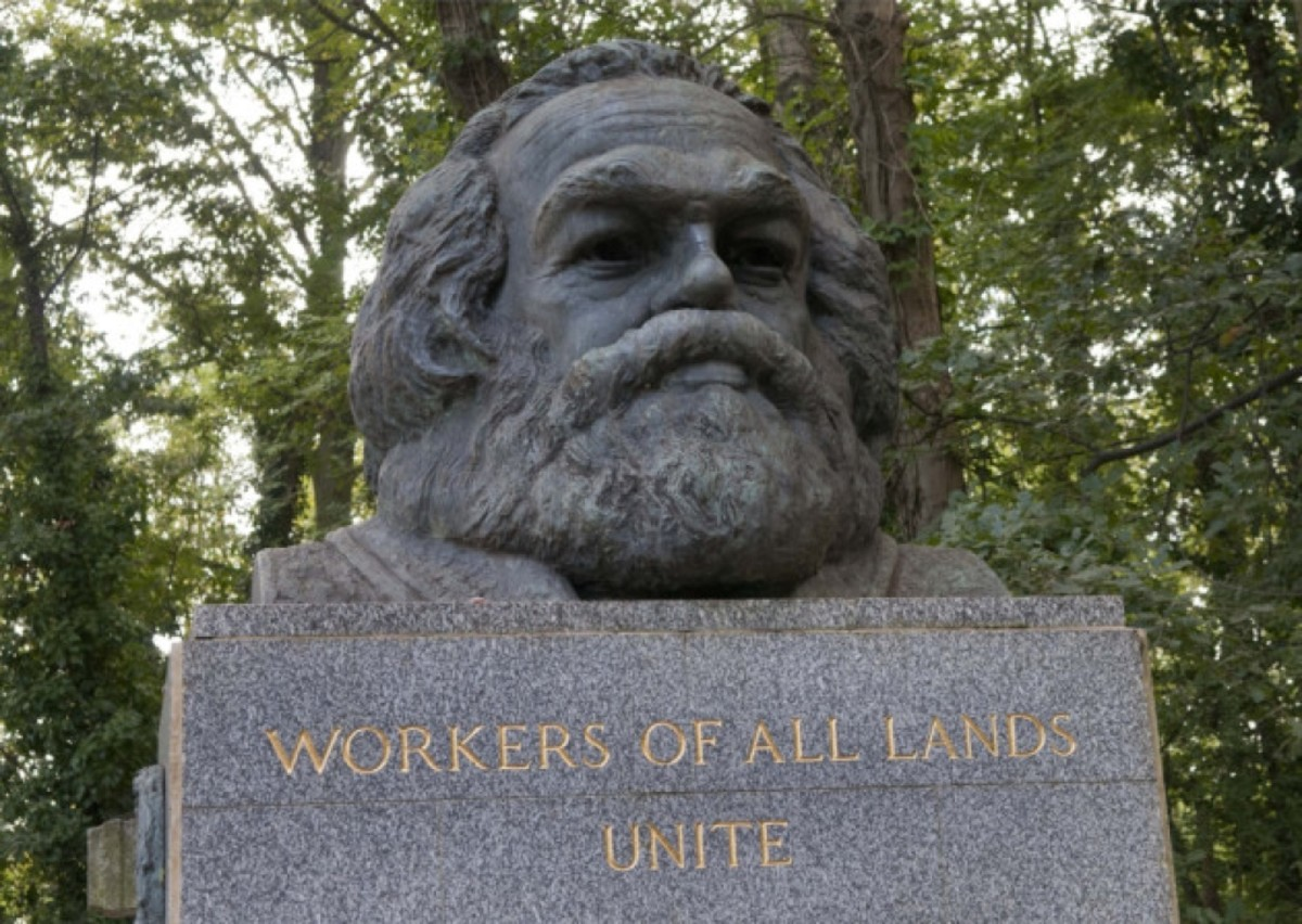This bronze bust of Karl Marx sits on top of his memorial tomb in Highgate Cemetery.