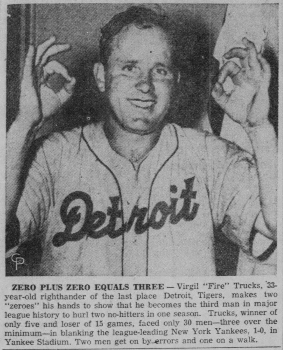 Virgil Trucks celebrates after beating the New York Yankees for his second no-hitter of the 1952 season.