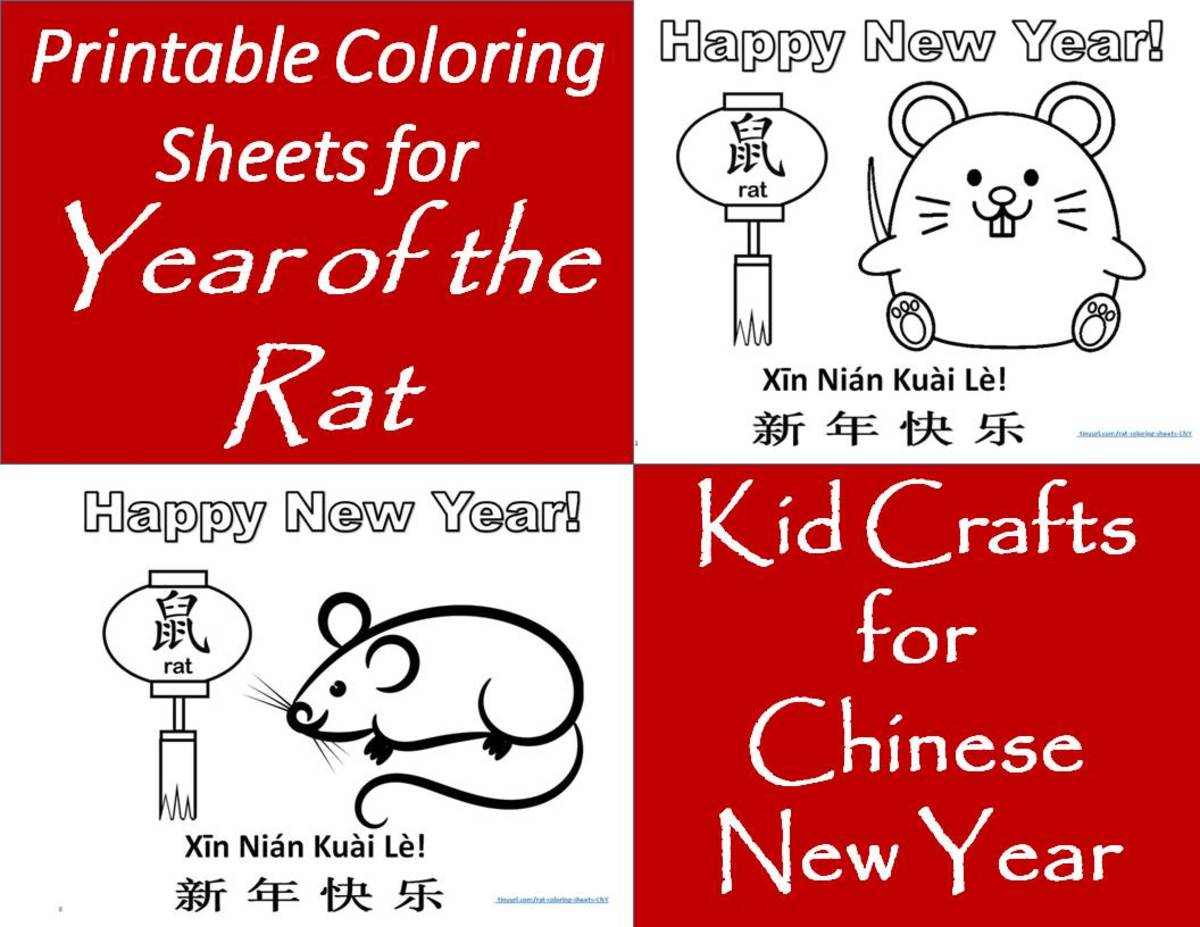 These printable, Year-of-the-Rat coloring sheets make for a great educational activity.