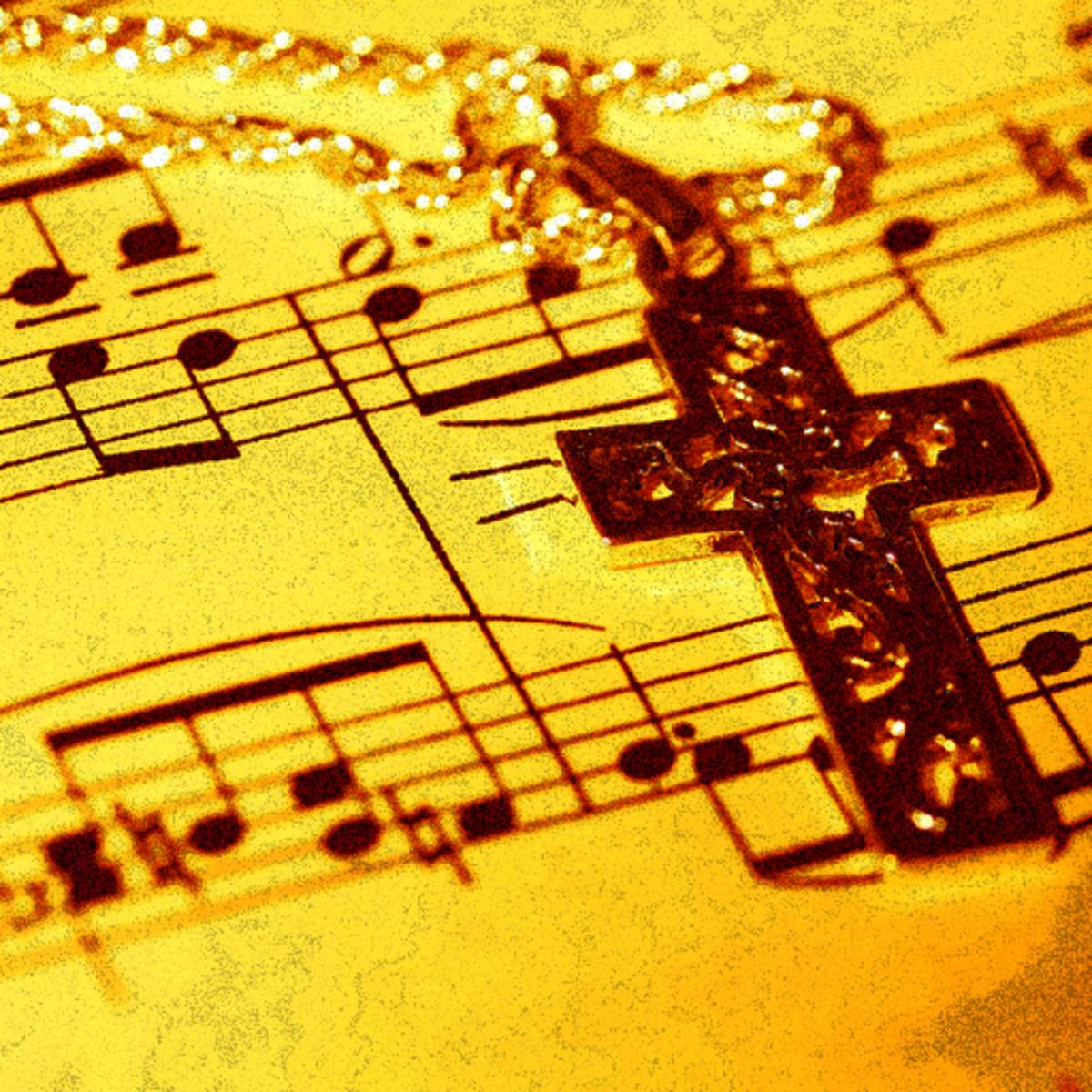 A cross lying on sheet music