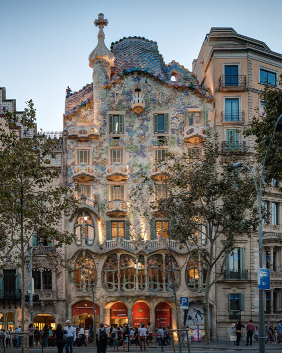 The front of La Casa Battló, Barcelona, Spain.