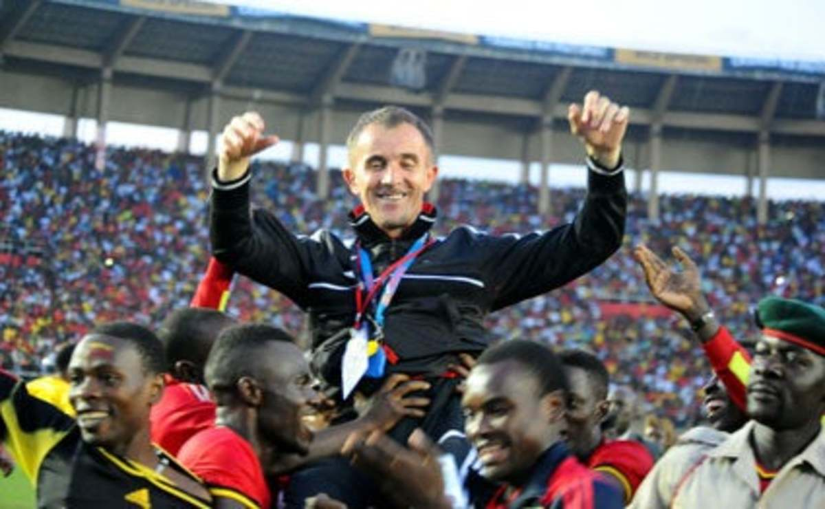 Milutin Sredojevic smiles and raises his arms as players carry the manager following an Uganda. Thanks to Sredojevic, Uganda secured its first trip to the Africa Cup of Nations in nearly four decades in Septemeber 2016.