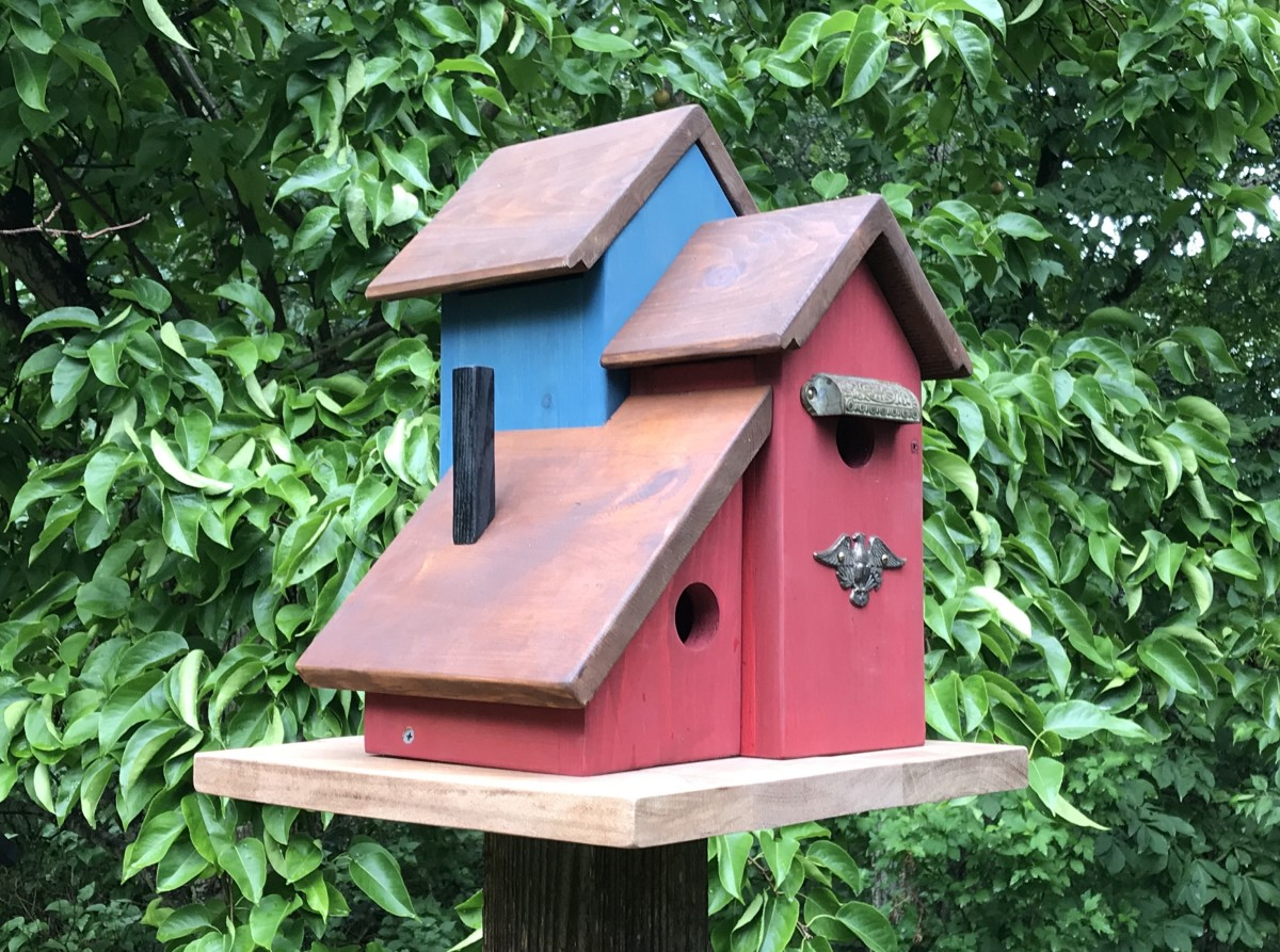 My new three-unit condo birdhouse is ready for the birds.