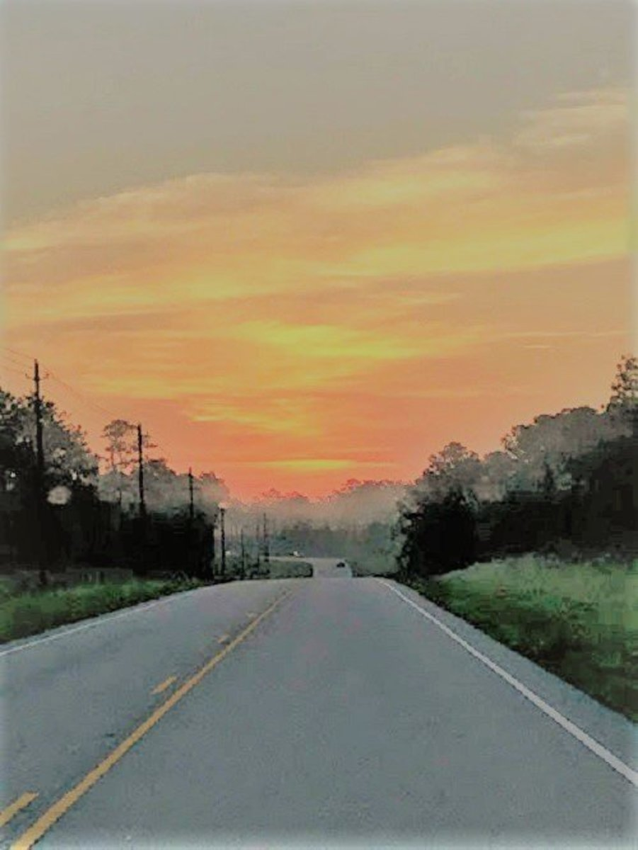 The road to work at sunrise...