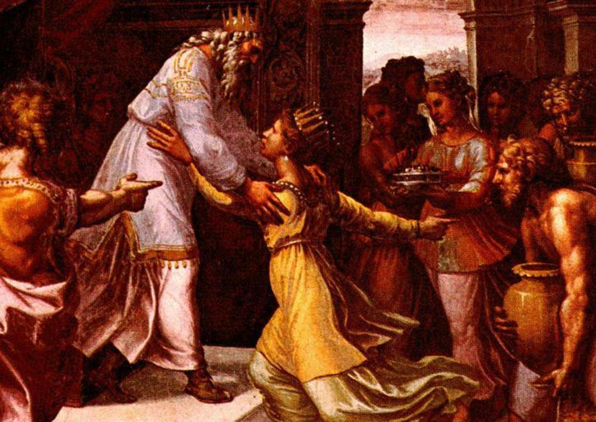 Solomon and the Queen meeting for the first time. Solomon's fame had spread far and wide.  The Queen of Sheba traveled a long way to see for herself if he was as wise as they said and to inquire into his God.