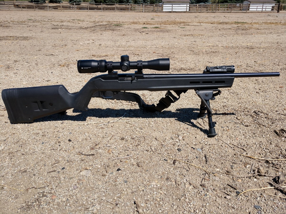 Finished rifle, a modified Ruger 10/22