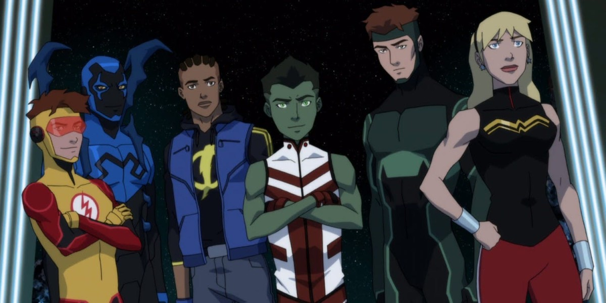 From left to Right: Kid Flash, Blue Beatle, Static, Beast Boy, Geo Force and Wonder Girl