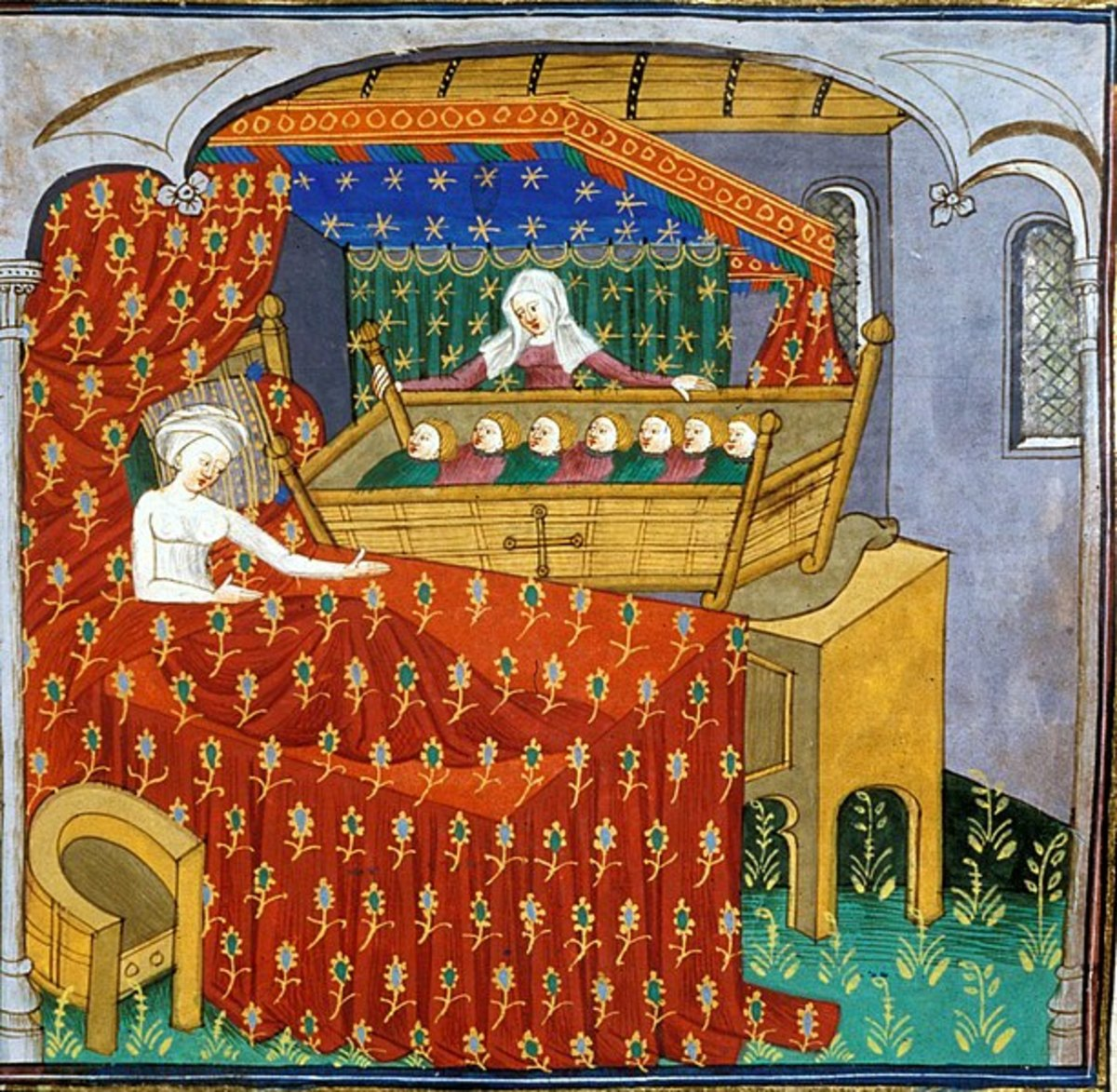 Medieval mother in bed with seven babies in a cradle