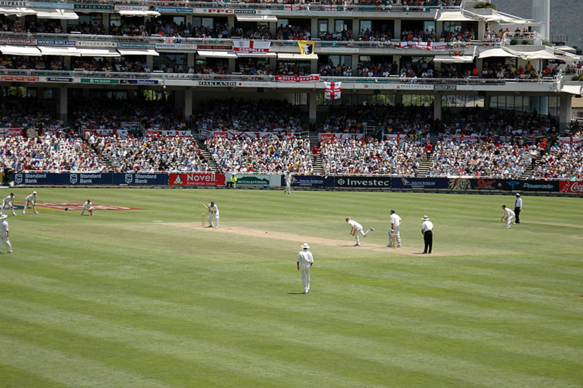 A classic Cricket scene displayed here in the form of a Test Match between England and South Africa.