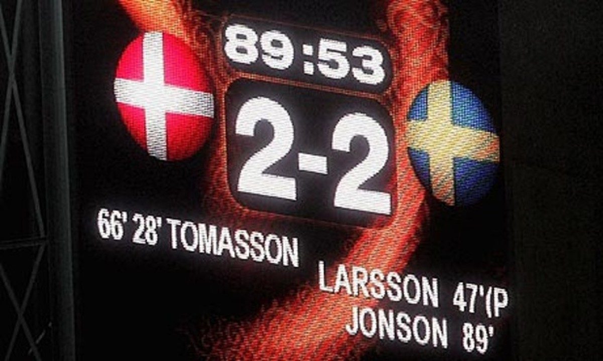 An image of the scoreboard displays the score in the Denmark-Sweden match at Euro 2004. This result sent both nations into the quarter-finals much to the dismay of Italy.