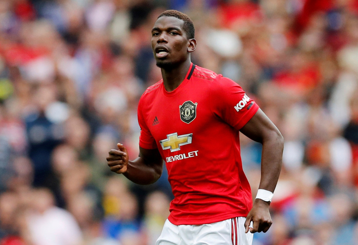 Paul Pogba in action against Chelsea, 2019.
