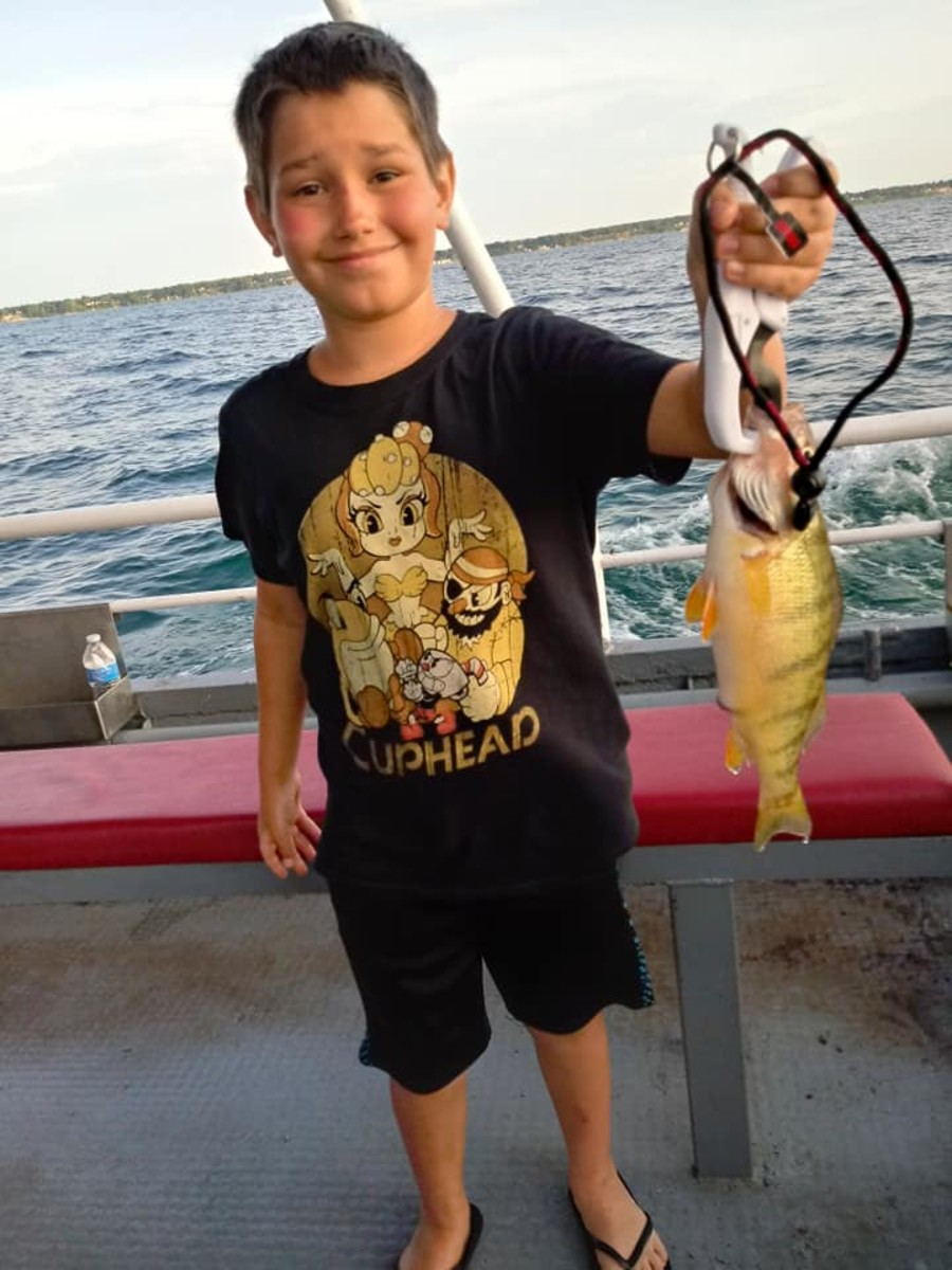 My son with a gorgeous Lake Erie jumbo perch.