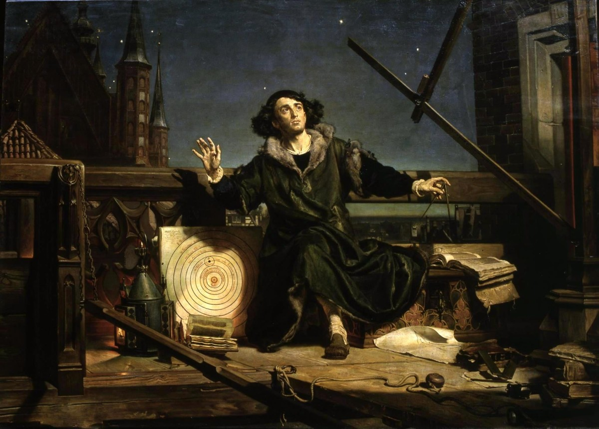 "1873 painting titled ""Astronomer Copernicus, or Conversations with God"" by Jan Matejko. The painted depicts Copernicus atop his tower at Frombork—with the cathedral's spires in the background—observing the sky with his wooden rulers (right)."