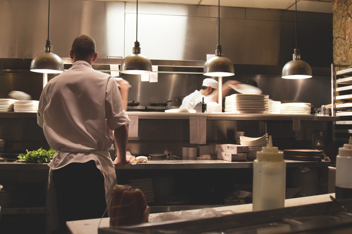 A busy restaurant kitchen.