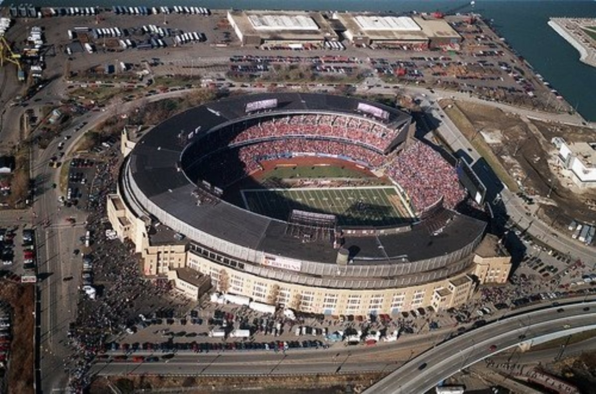 Municipal Stadium is seen from above during the final game played there on Dec. 17, 1995.