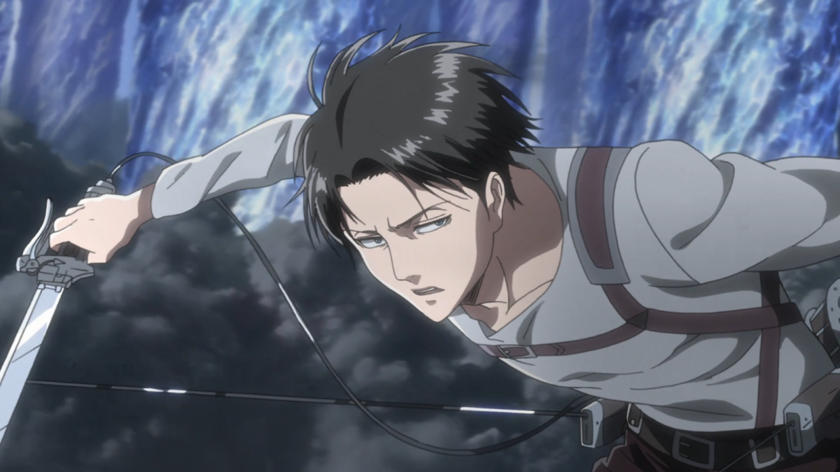 Levi searching for enemy soldiers during a blazing sneak attack, planning to finish his feud with his mentor figure once and for all.