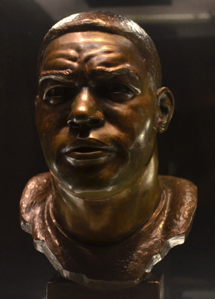 The bust of former Browns defensive end, Len Ford, as seen in the Pro Football Hall of Fame in Canton, Ohio. Ford helped the Browns win three NFL championships during his eight seasons with the franchise.