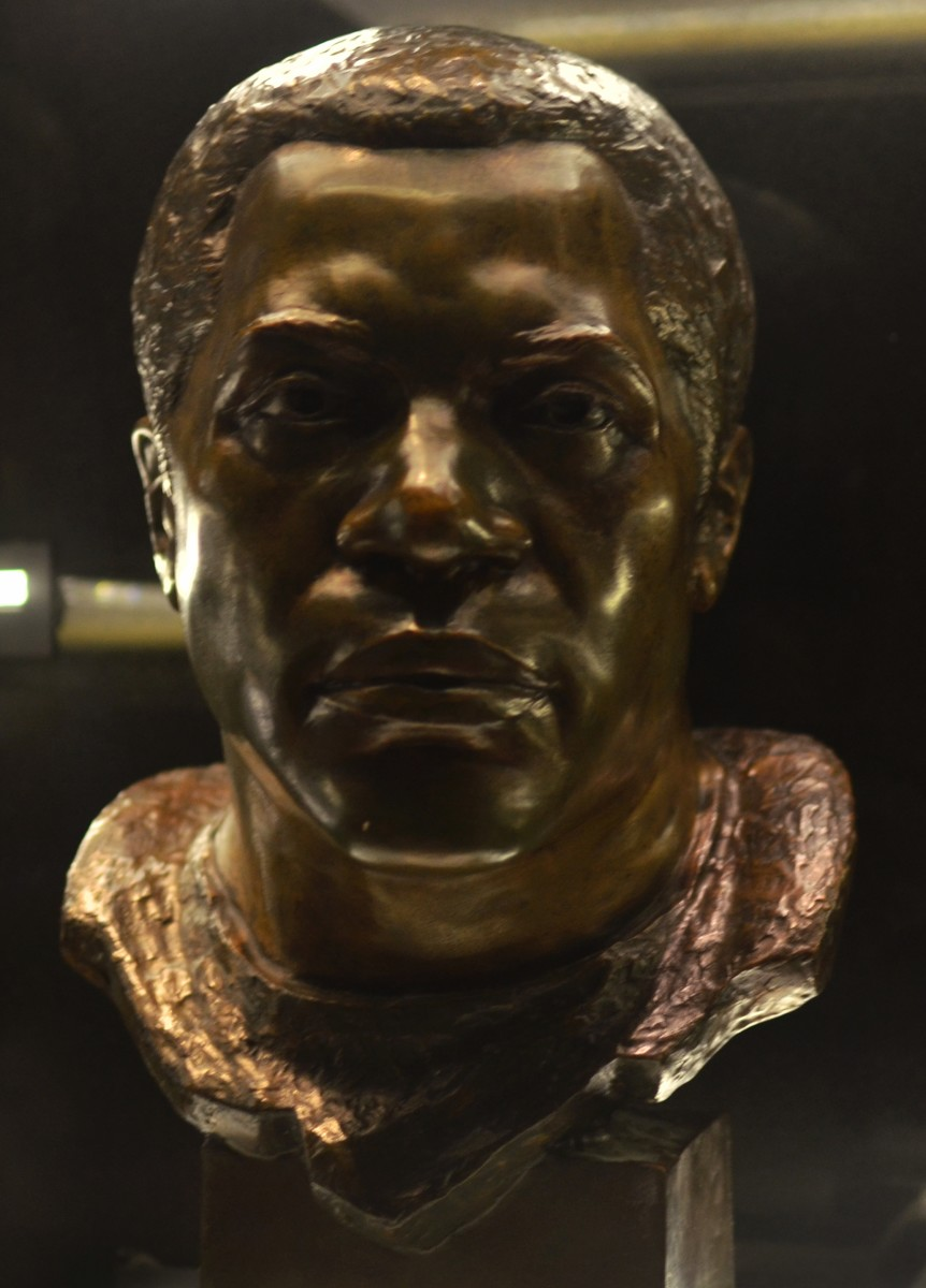 The bust of former Browns defensive lineman, Bill Willis, as seen in the Pro Football Hall of Fame in Canton, Ohio. Willis is the greatest defensive player in the history of the Browns.