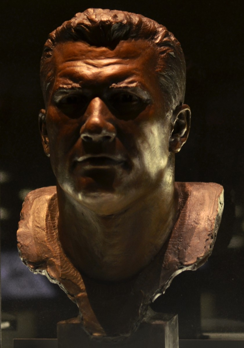 Gene Hickerson's bust as seen in the Pro Football Hall of Fame.