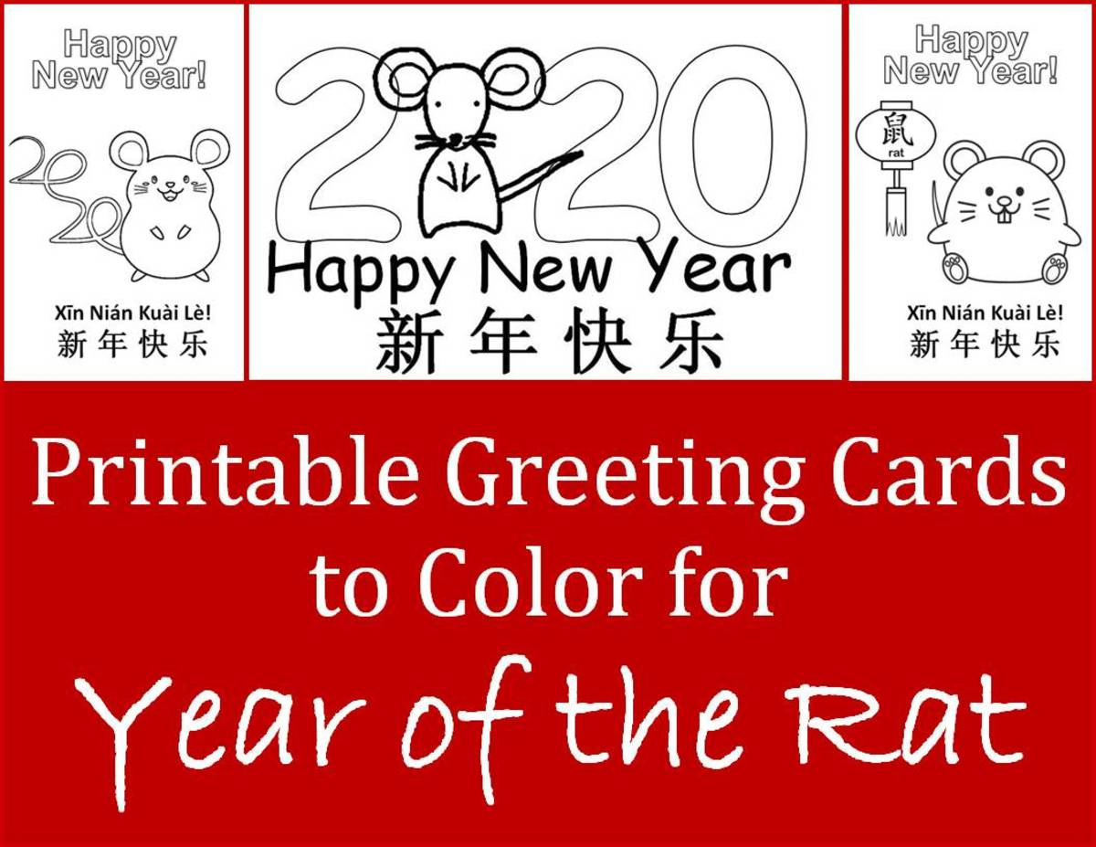 Printable Children's Craft Greeting Cards to Color for the Year of the Rat