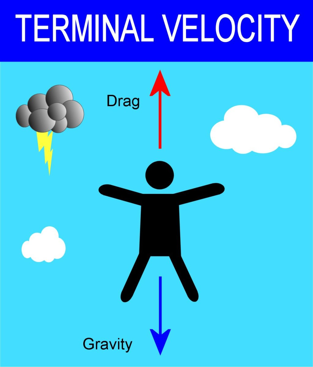 Terminal Velocity of a Human, Free Fall and Drag Force