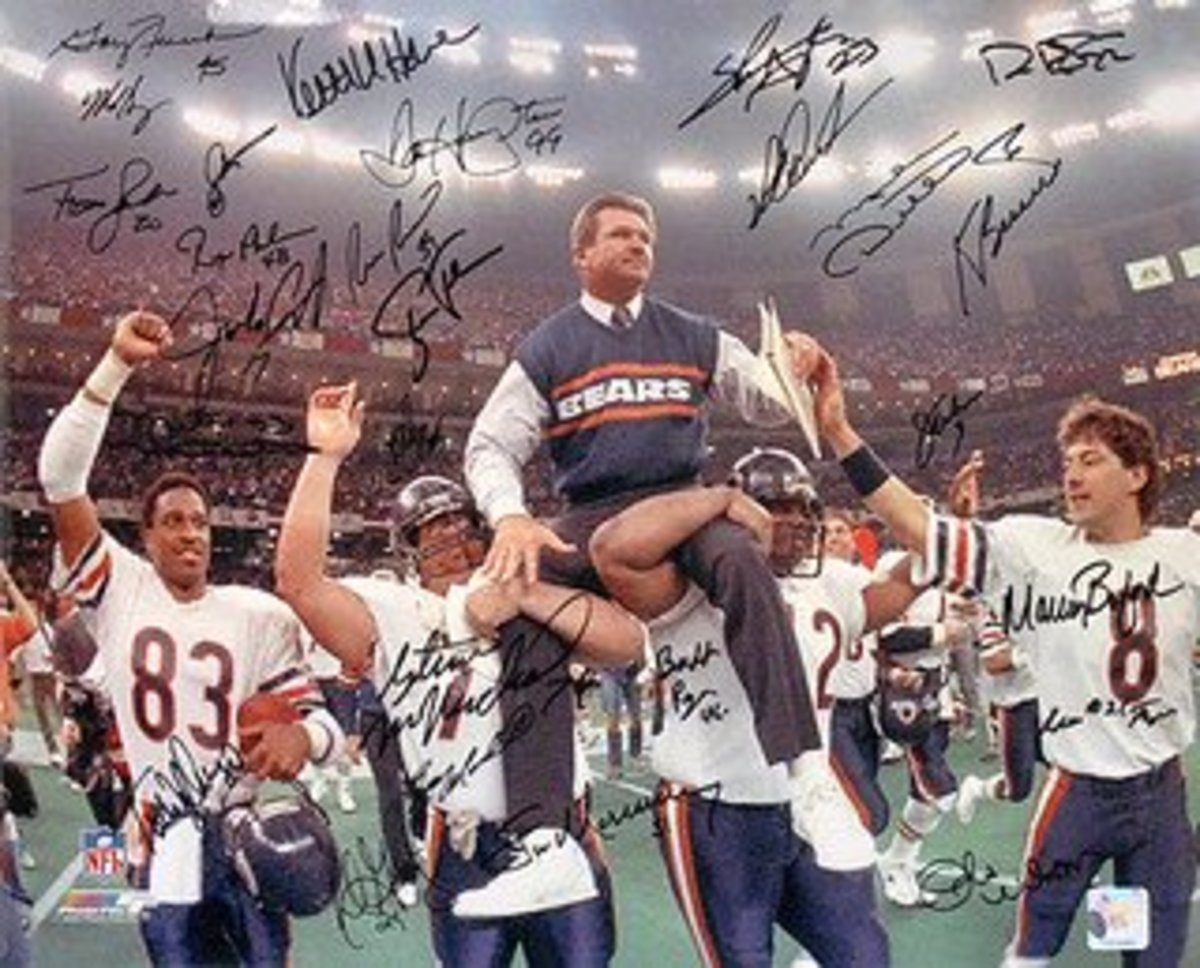 The 1985 Chicago Bears carry head coach, Mike Ditka, on their shoulders as they celebrate their first Super Bowl victory in franchise history.