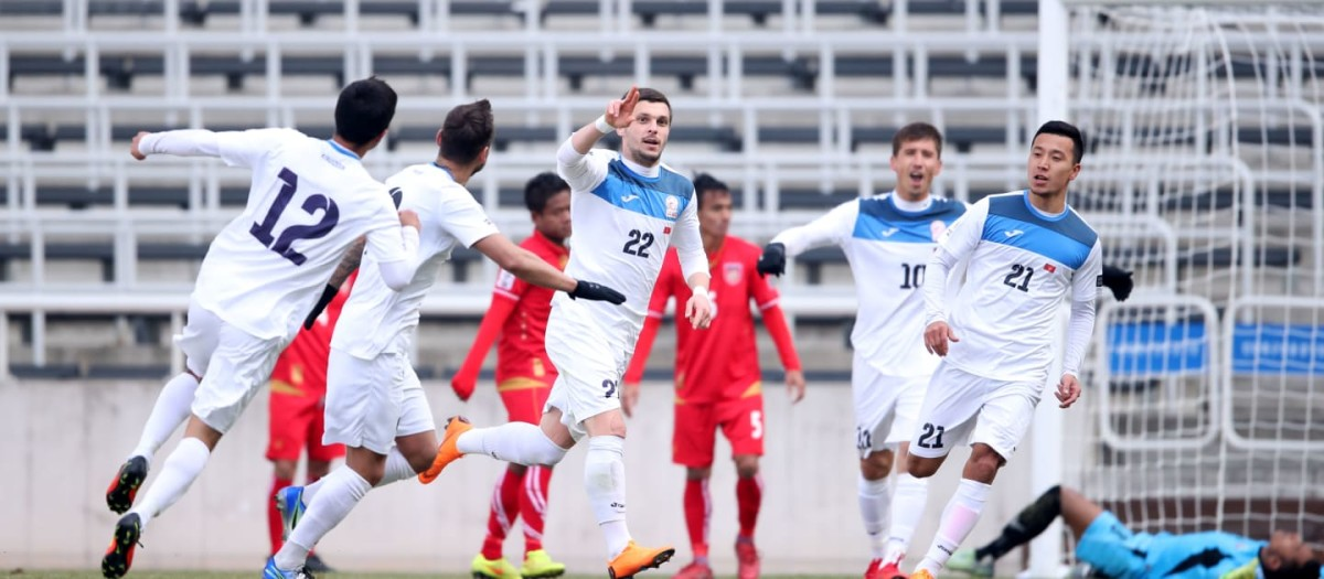 Kyrgyzstan players celebrate during a 2019 Asian Cup qualifier in Incheon, South Korea. Kyrgyzstan won 5-1 to qualify for the 2019 Asian Cup.