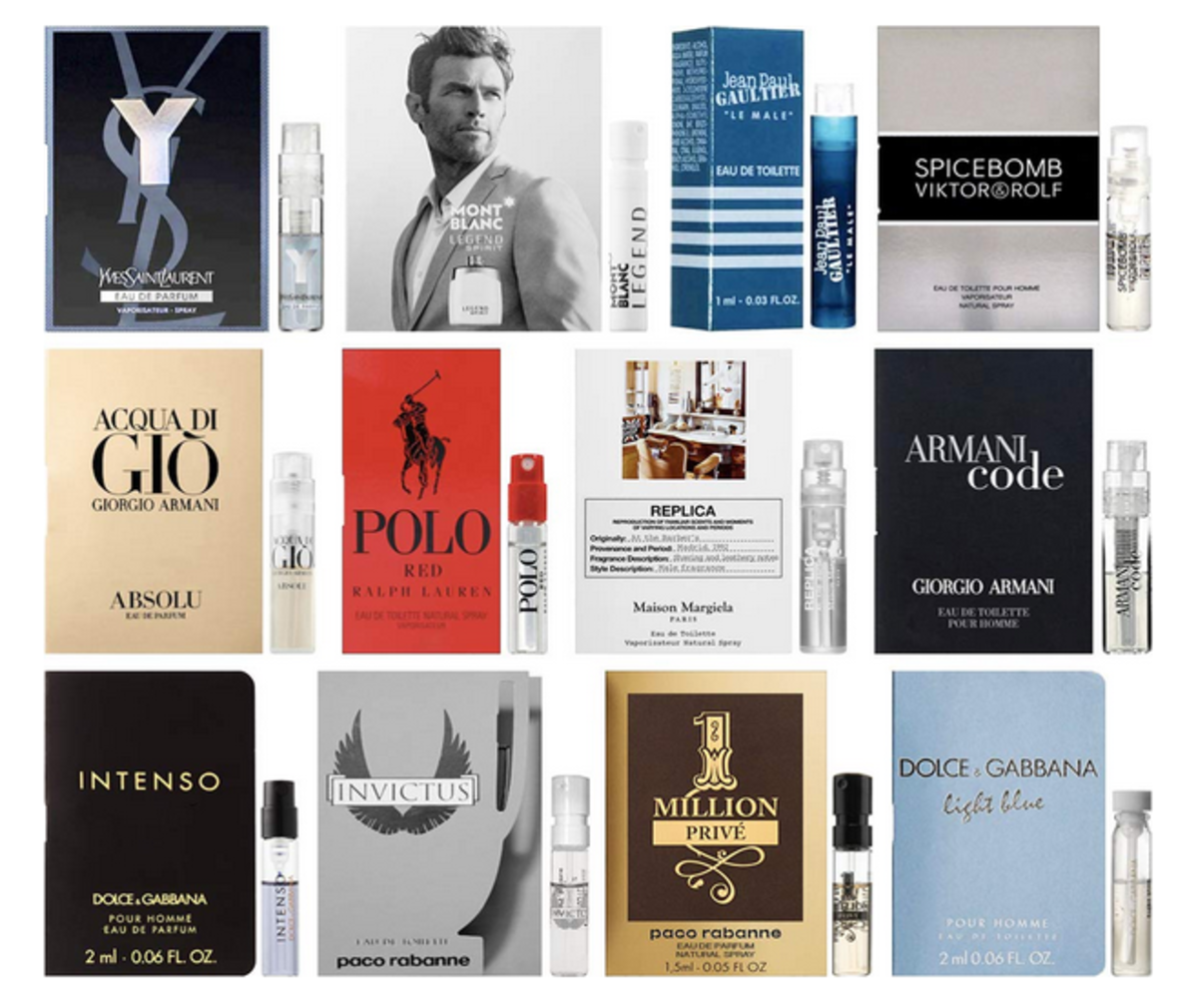 Experience designer men's fragrances for a fraction of the full-sized bottle.