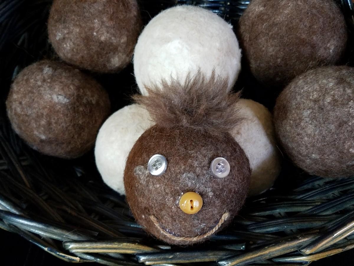 My alpaca dryer ball mascot.