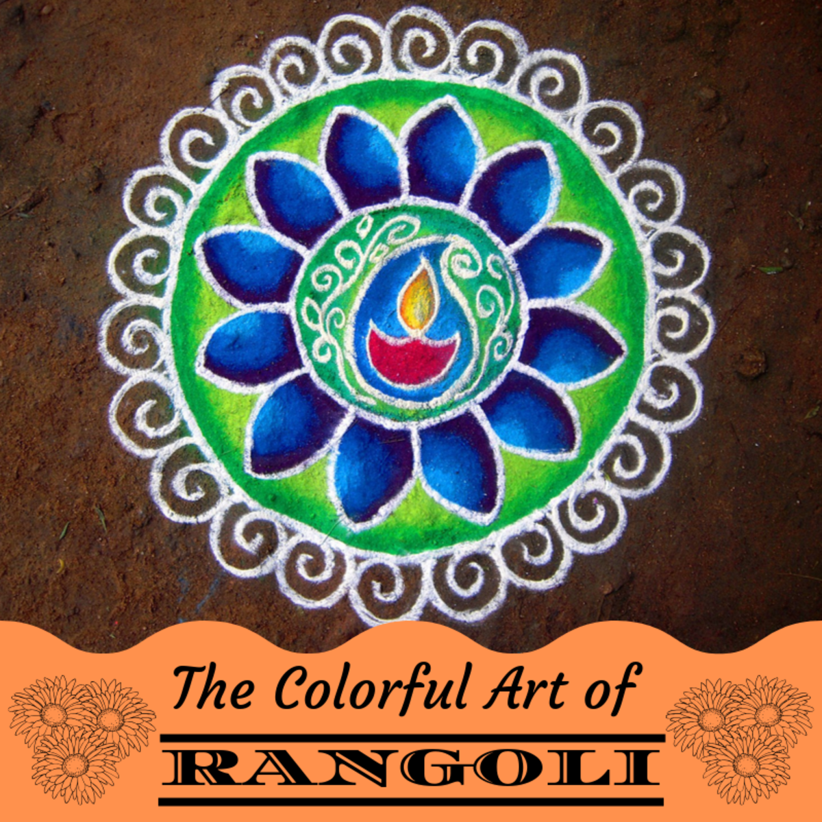 Rangoli is a traditional Indian art form practiced during Diwali and during other celebratory occasions.