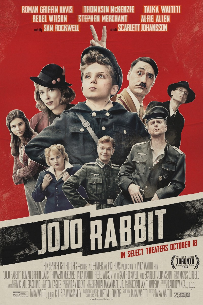 "The official cast theatrical poster for, ""Jojo Rabbit."""