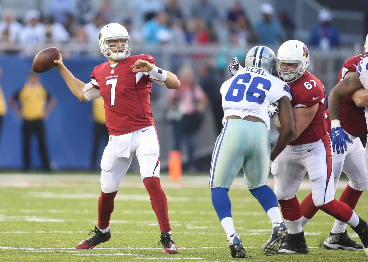 Arizona Cardinals quarterback, Blaine Gabbert, drops back to pass against the Dallas Cowboys during the first quarter at Tom Benson Hall of Fame Stadium in the 2017 NFL Hall of Fame Game.