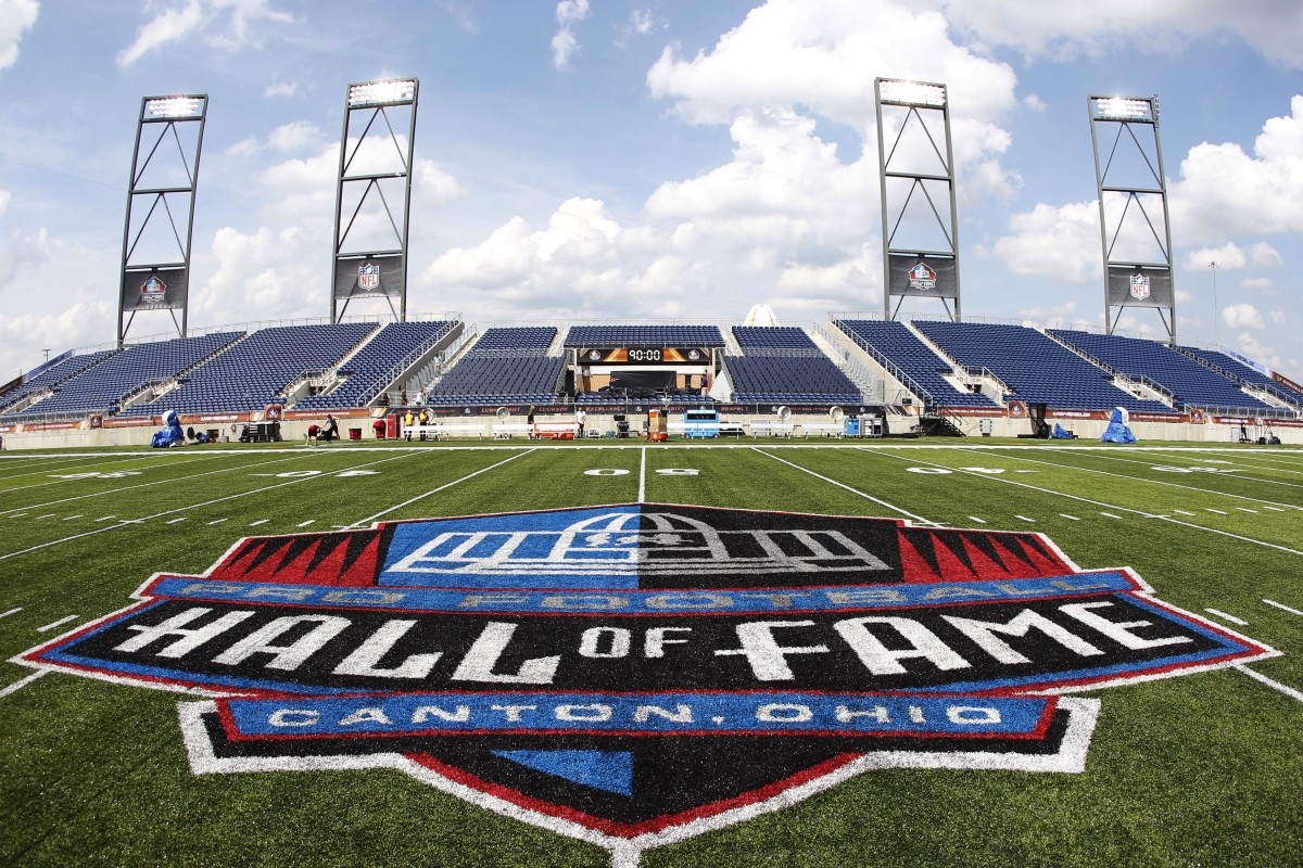 The Pro Football Hall of Fame logo was featured on the field prior to the 2017 Hall of Fame between the Arizona Cardinals and Dallas Cowboys in Canton, Ohio.