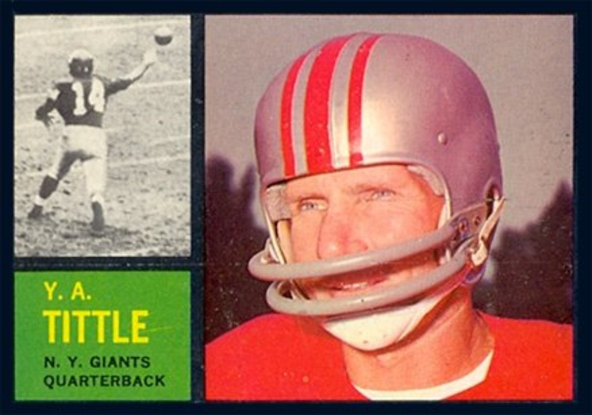 Hall of Famer Y.A. Tittle (shown here on his 1962 Topps football trading card) led the Giants to three consecutive Eastern Conference Championships.