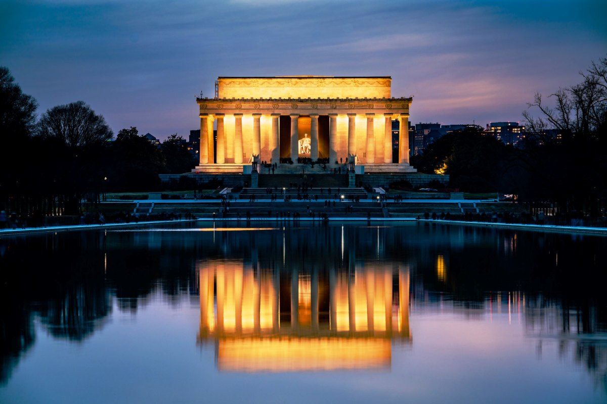 Early dusk at the Lincoln Memorial on the National Mall in Washington DC