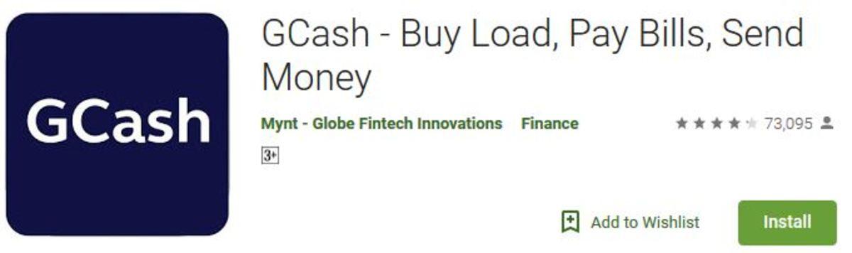 Screenshot of GCash app as seen on Playstore