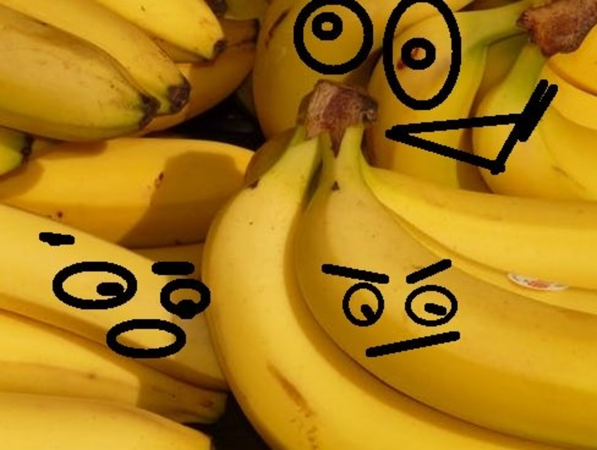 A banana has many varied faces.