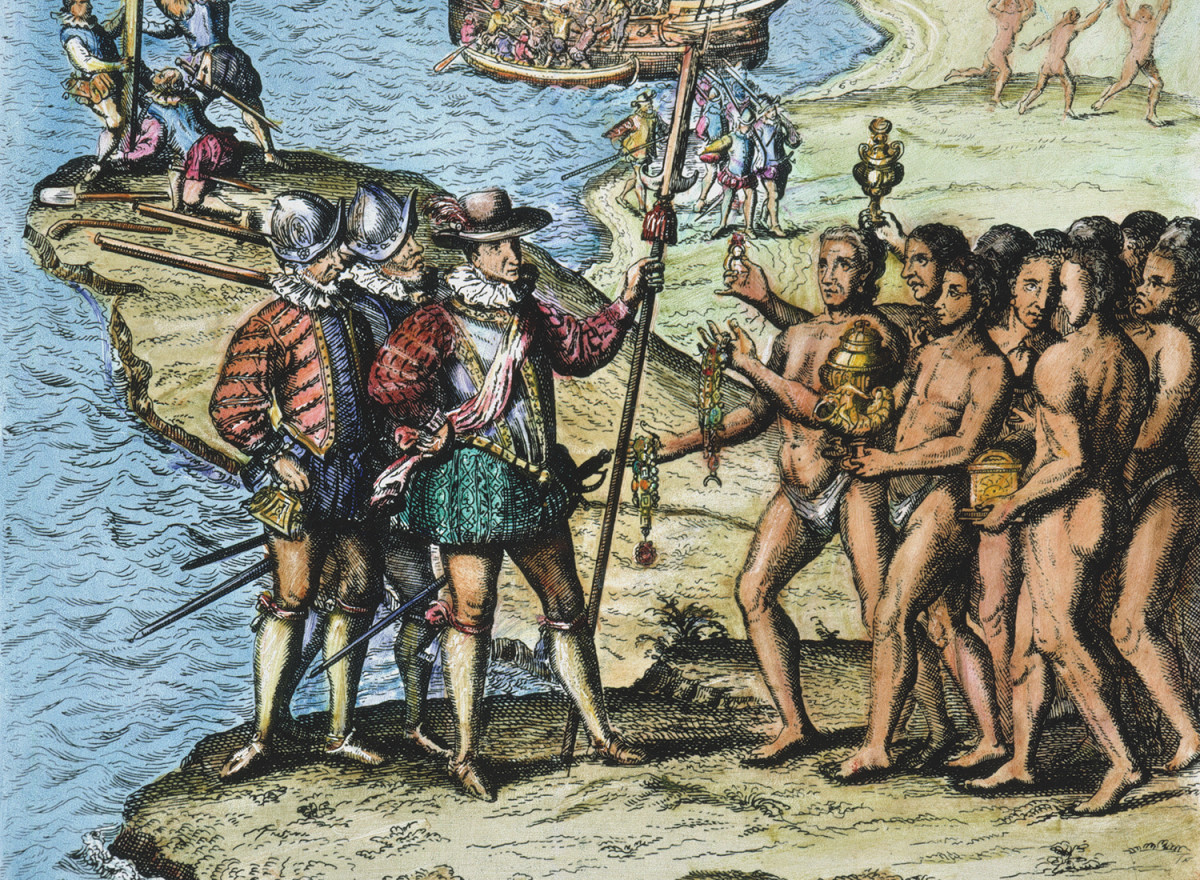 After landing on an outlying island, Columbus quickly found his way to Hispanola with its large population of Native Americans.