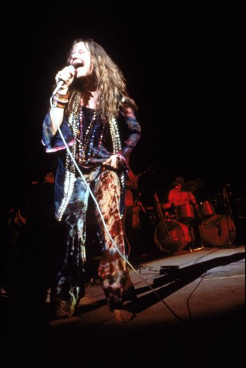 Janis Joplin onstage at Woodstock in the wee hours of the morning, August 17, 1969.