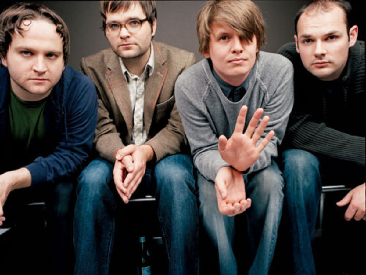 Classic Death Cab for Cutie lineup. From left: bassist Nick Harmer, vocals/guitar/keys Ben Gibbard, vocals/guitar/keys Chris Walla and drummer Jason McGerr.
