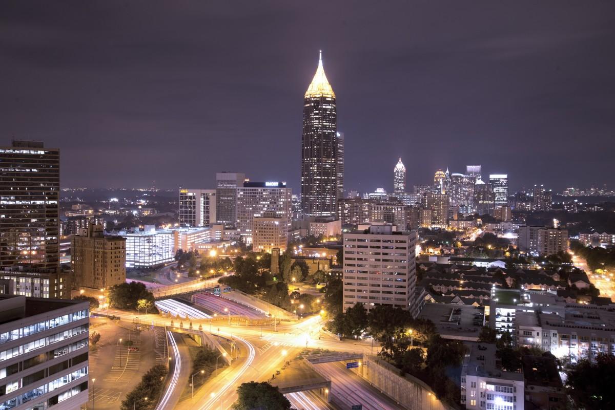 The beautiful Atlanta skyline at night.