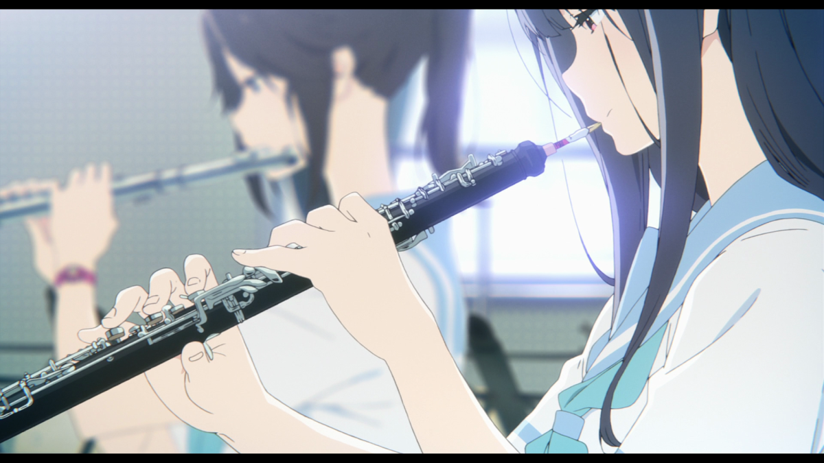 Shy oboist Mizore and outgoing flautist Nozomi, getting in some morning practice.