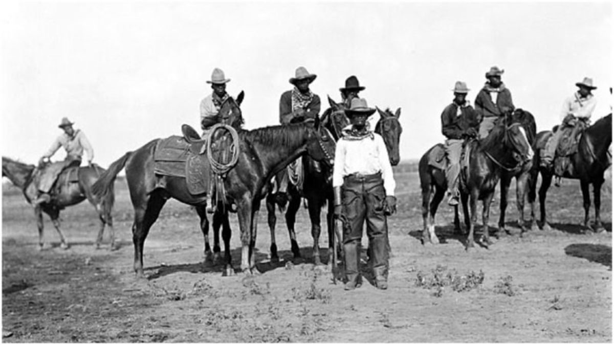 Men on horseback at the Negro State Fair in Bonham, Texas, early 20th century