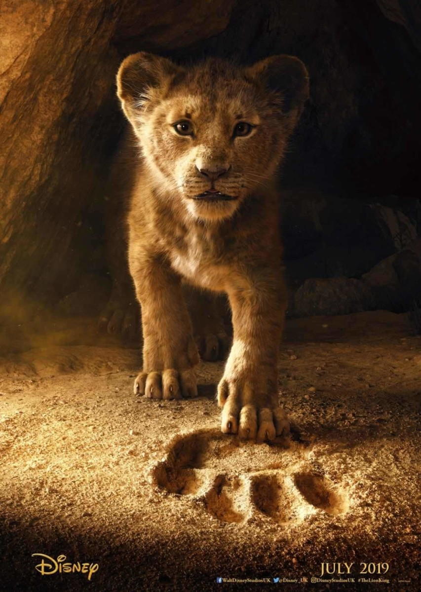 The poster from 'The Lion King' showcasing the photo-realistic Simba. Film releasing on July 18, 2019